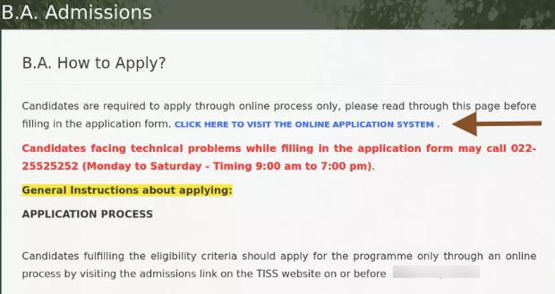 TISS BAT 2021 Application Form