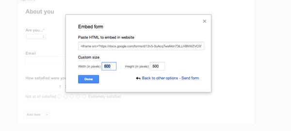 Điều chỉnh lại kích thước của khảo sát cho phù hợp với trang web của bạn