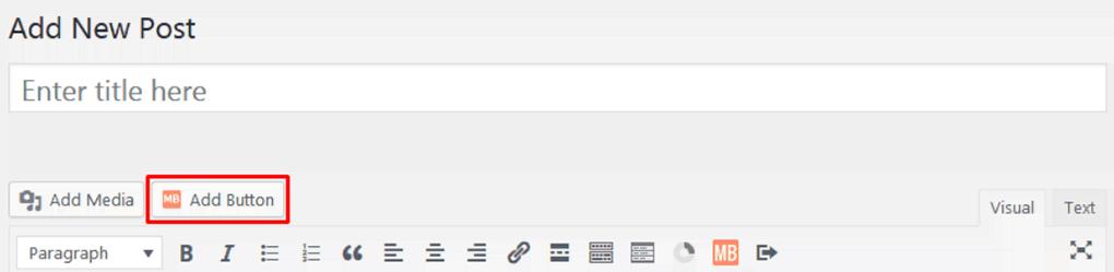 opção de adicionar botão no editor clássico do wordpress