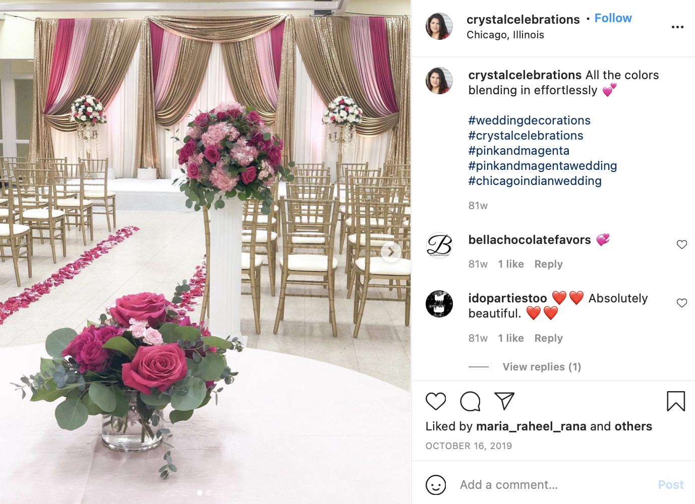 pastel pink, magenta, and green wedding ceremony
