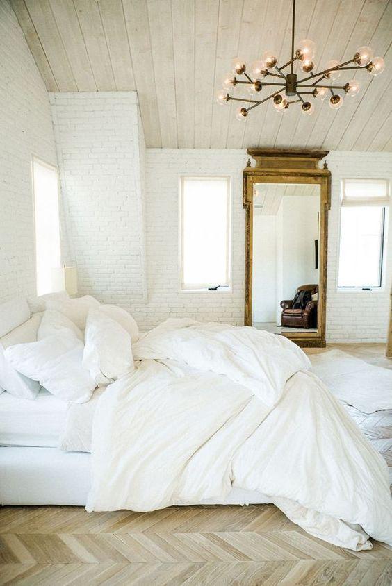 Floor-to-Ceiling Rectangular Mirror in White Bedroom