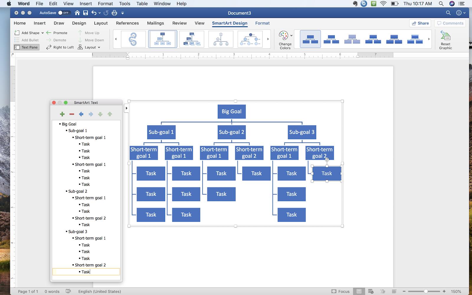 Screenshot how to create a goal tree in Microsoft Word