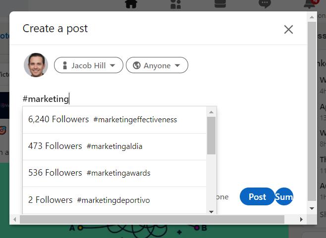 LinkedIn Hashtag Analytics chrome extension
