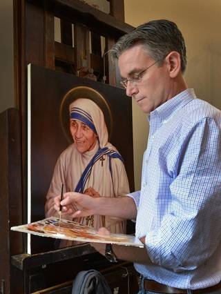 "Charlotte artist Chas Fagan's work is ""surely the finest depiction of Mother Teresa I have ever seen,"" Knights of Columbus CEO Carl Anderson wrote in a note to Fagan."