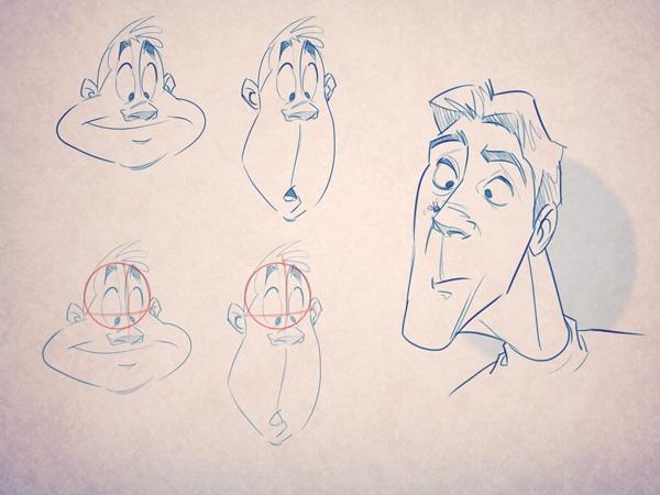 Пример того, как эта техника применяется к выражениям лица: заметьте, что форма верха черепа не меняется, и только нижняя челюсть вытягивается книзу.