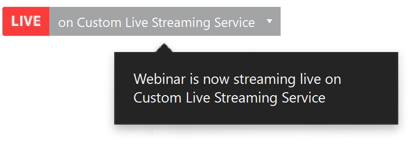 From the top of the Zoom, showing the Custom live Streaming Service is on.