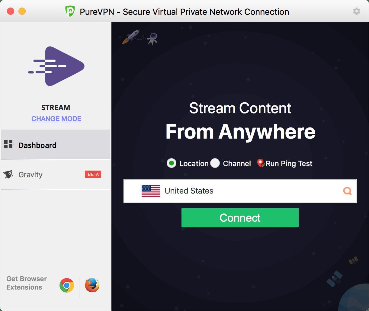 Ứng dụng PureVPN dành cho Mac.