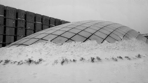 a snowed in and frosted Mansueto library dome next to Regenstein library
