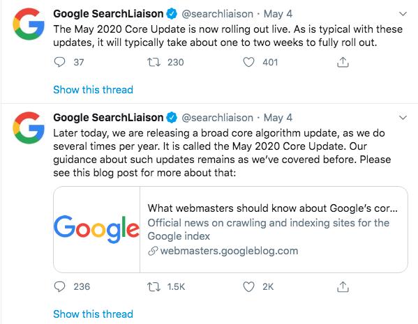 google algorithm update tweet
