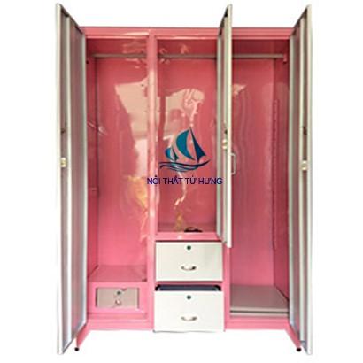 Tủ sắt sơn tĩnh điện 3 cửa màu hồng