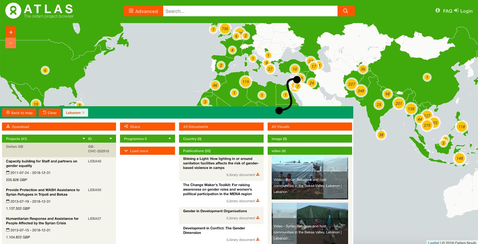 L'Atlante dei progetti di Oxfam Novib permette di scoprire dettagli (e scaricare i dati) su ogni ...
