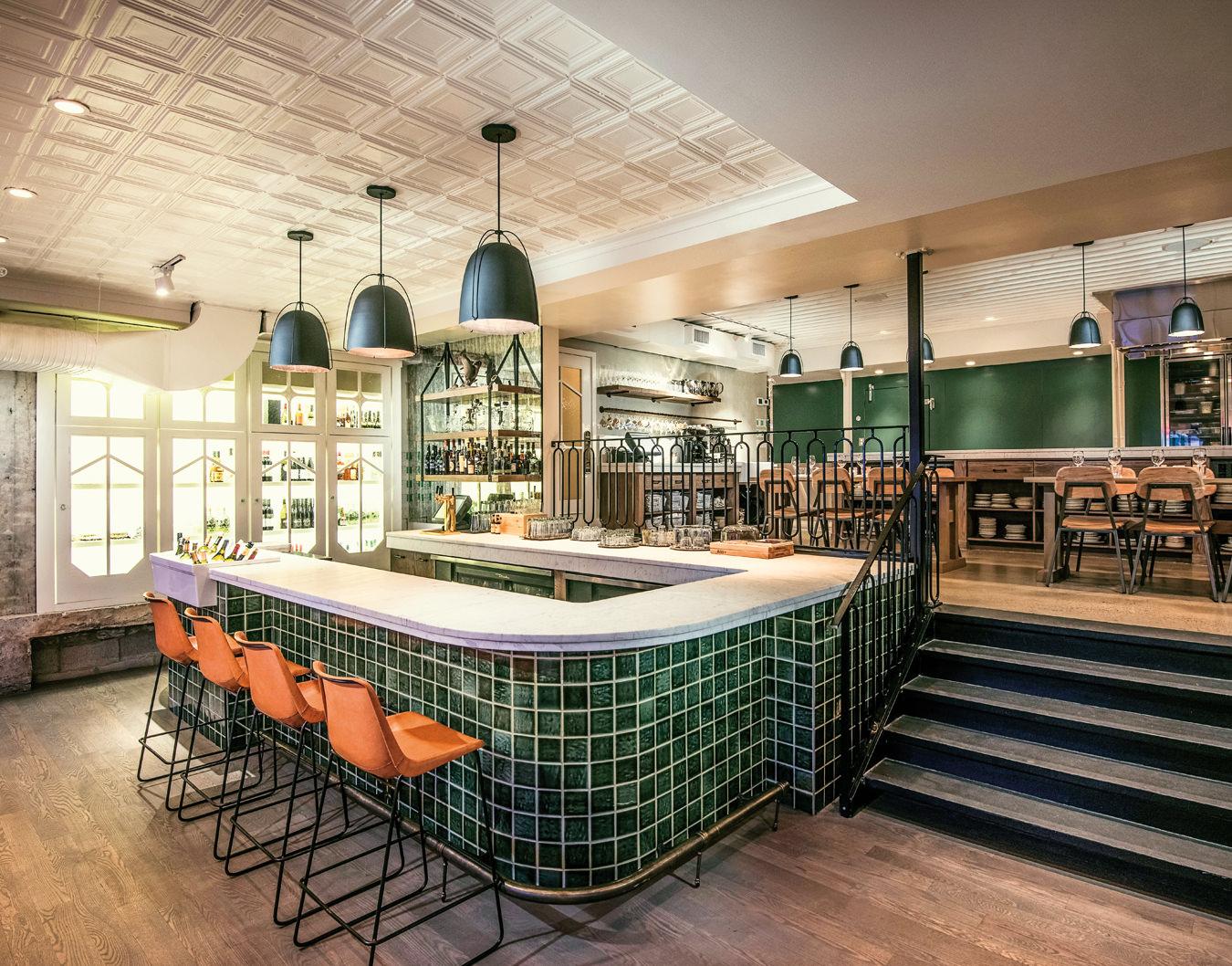 Retro bar design at the Pigeonhole restaurant in Calgary, Canada