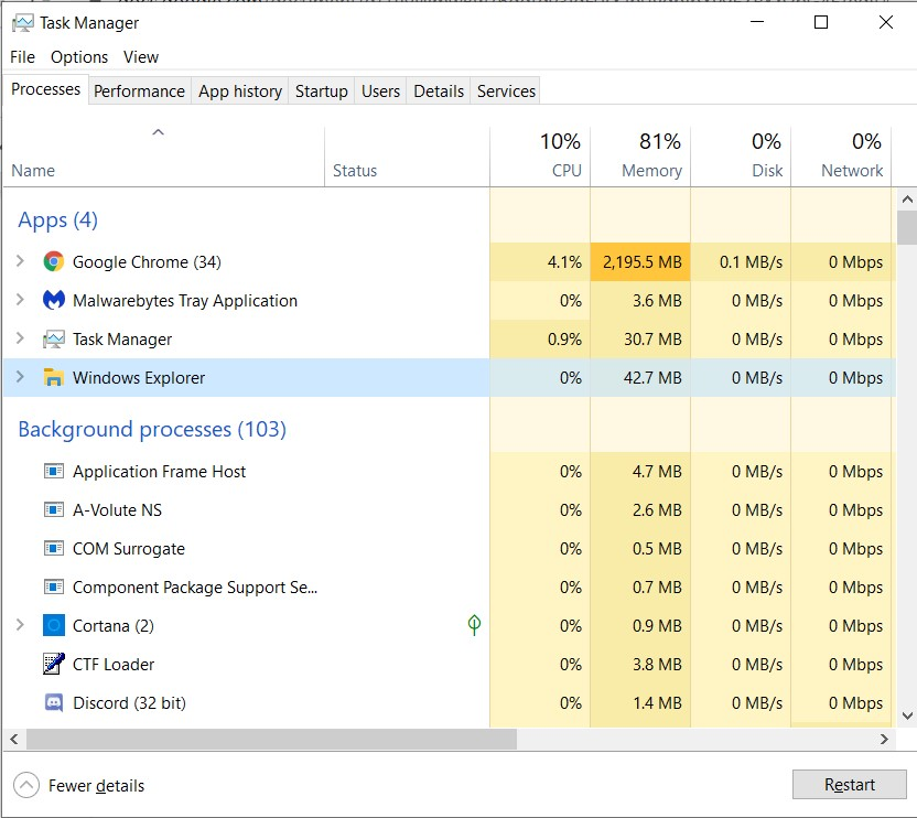 Click on the Windows Explorer process and select Restart on the bottom part of the window