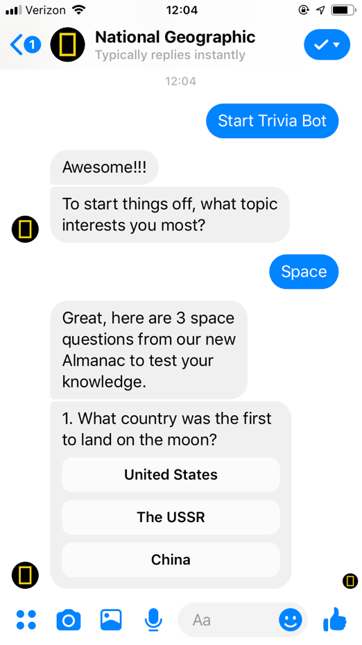 popular chatbots national geographic bot