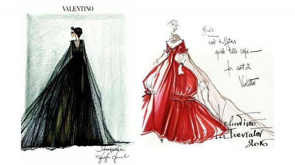 Los bocetos de los diseños de dos de los modelos confeccionados por la maison italiana (Valentino)