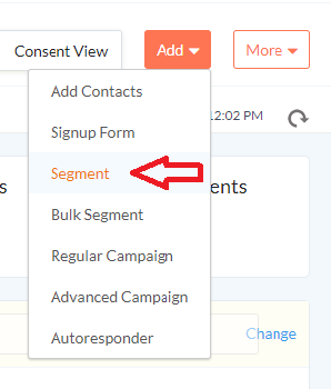 Using segment feature in Zoho email