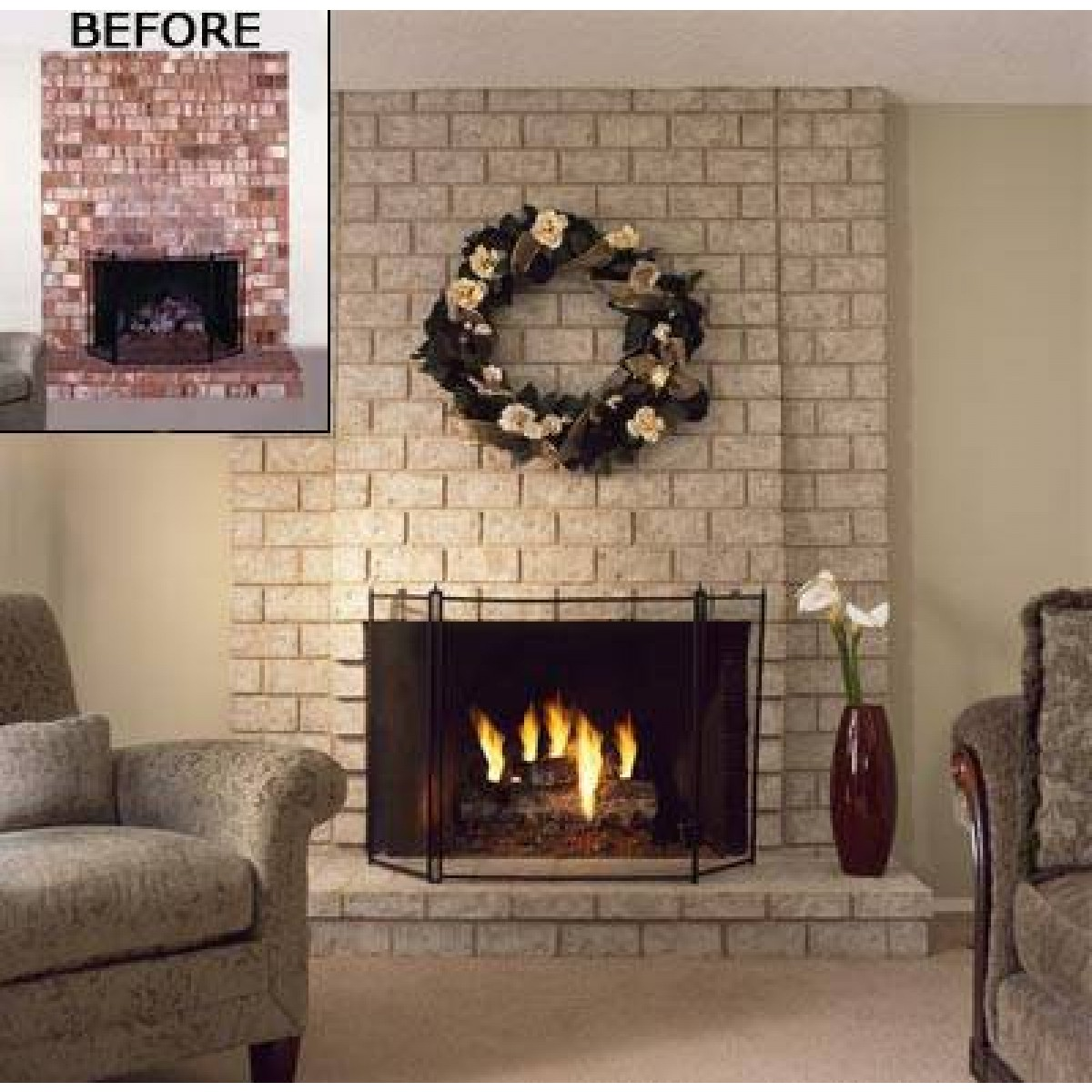 Fireplace painted with Brick Anew Paint Kit - Before & After