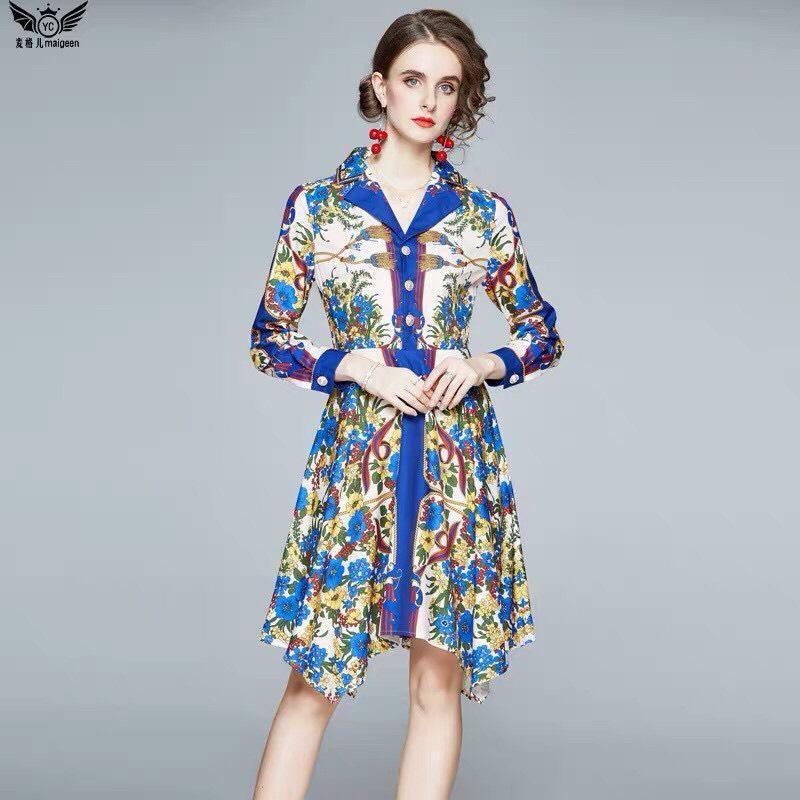 Đầm Lụa Hoa Tà Nhọn Cổ Vest - HN914