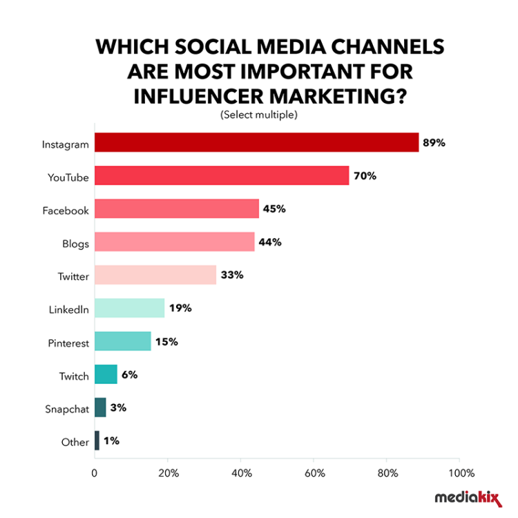 Top channels for Influencer Marketing (Credit)