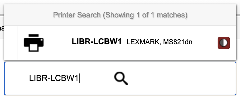 Selecting LIBR_LCBW1 in Uprint by searching