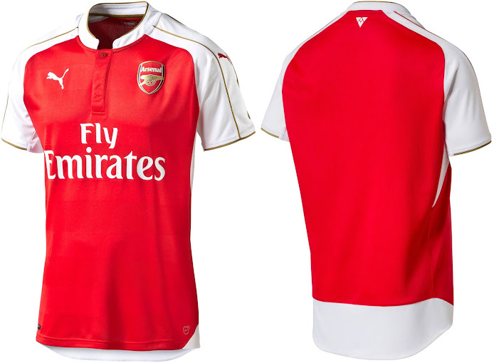 The body of the home kit is red while the sleeves are white and collar  feature a unique design in white colour and gold application. 758790a2f