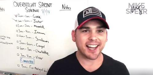 FB Live video screen grab of my productivity sprint schedule