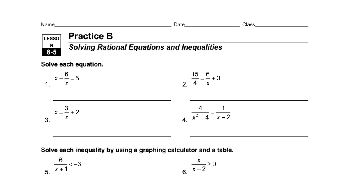 worksheet 85 a solving rational equations and inequalitiesdoc google drive - Rational Equations Worksheet