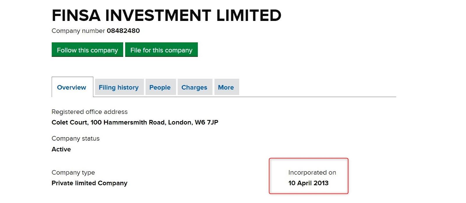 Finsa Investment Limited: отзывы о сотрудничестве, обзор официального сайта
