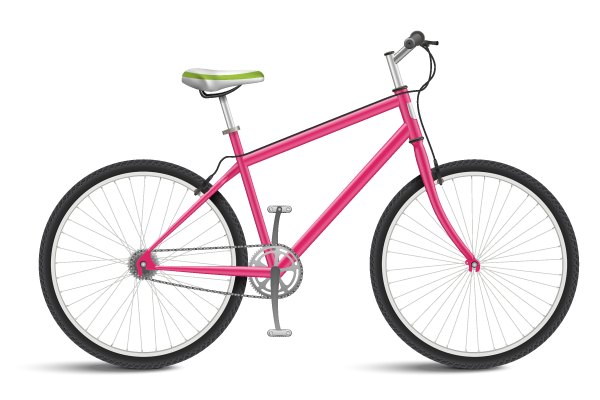 Pink Bicycle isolated on white