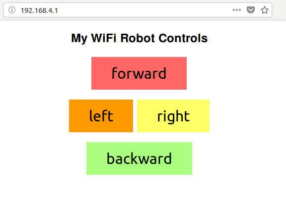 This is an image showing the control buttons that appear on the Wifi Robot kit's webserver.