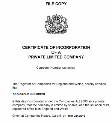 UK Company certificate of incorporation