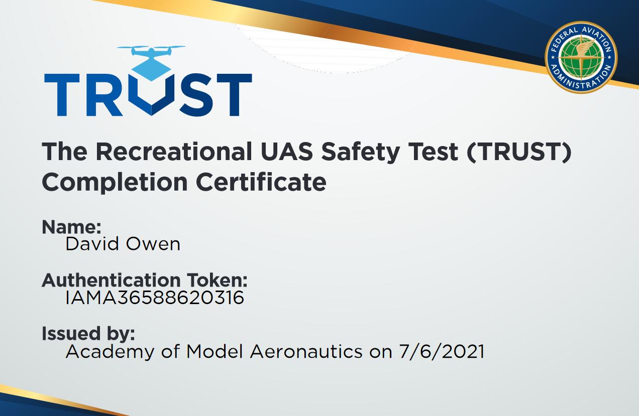 FAA TRUST Test Completion Certificate