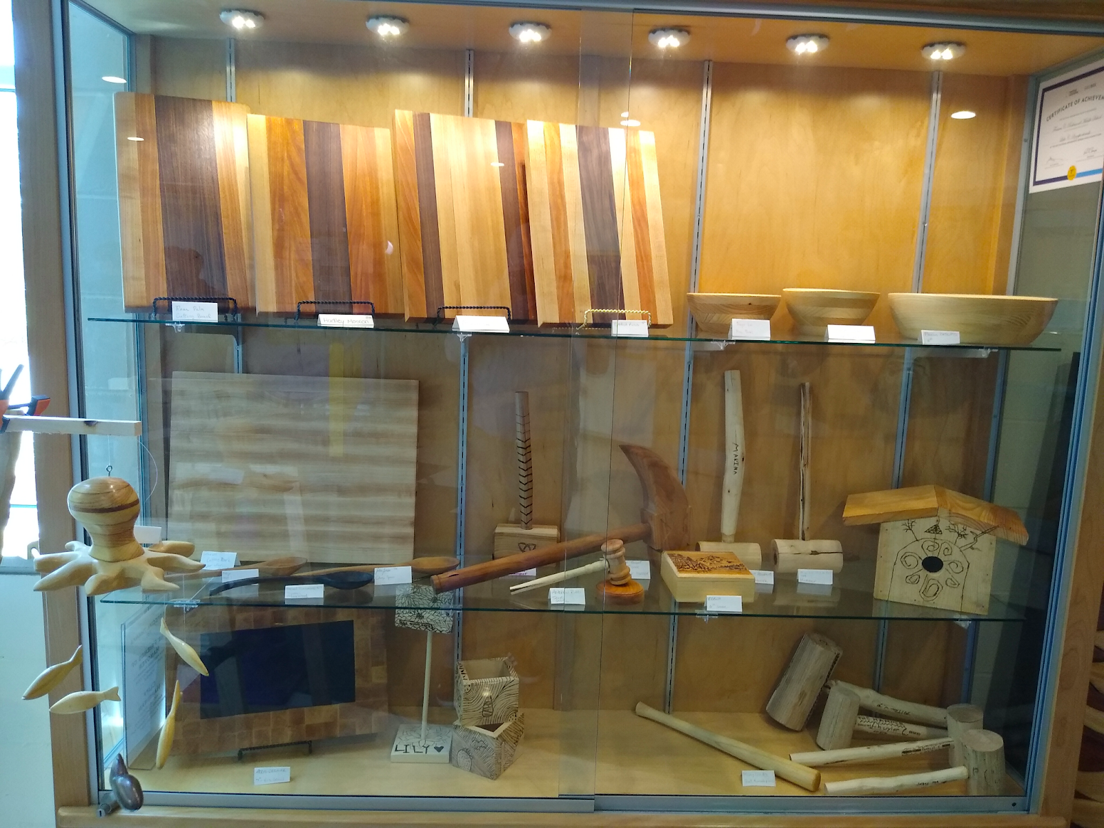 student woodworking projects in the display case