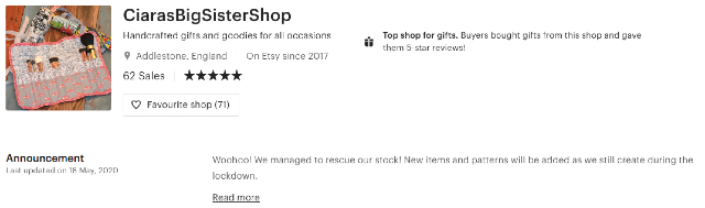 Passive income handmade products website header from Etsy. This screenshot shows an online shop example.