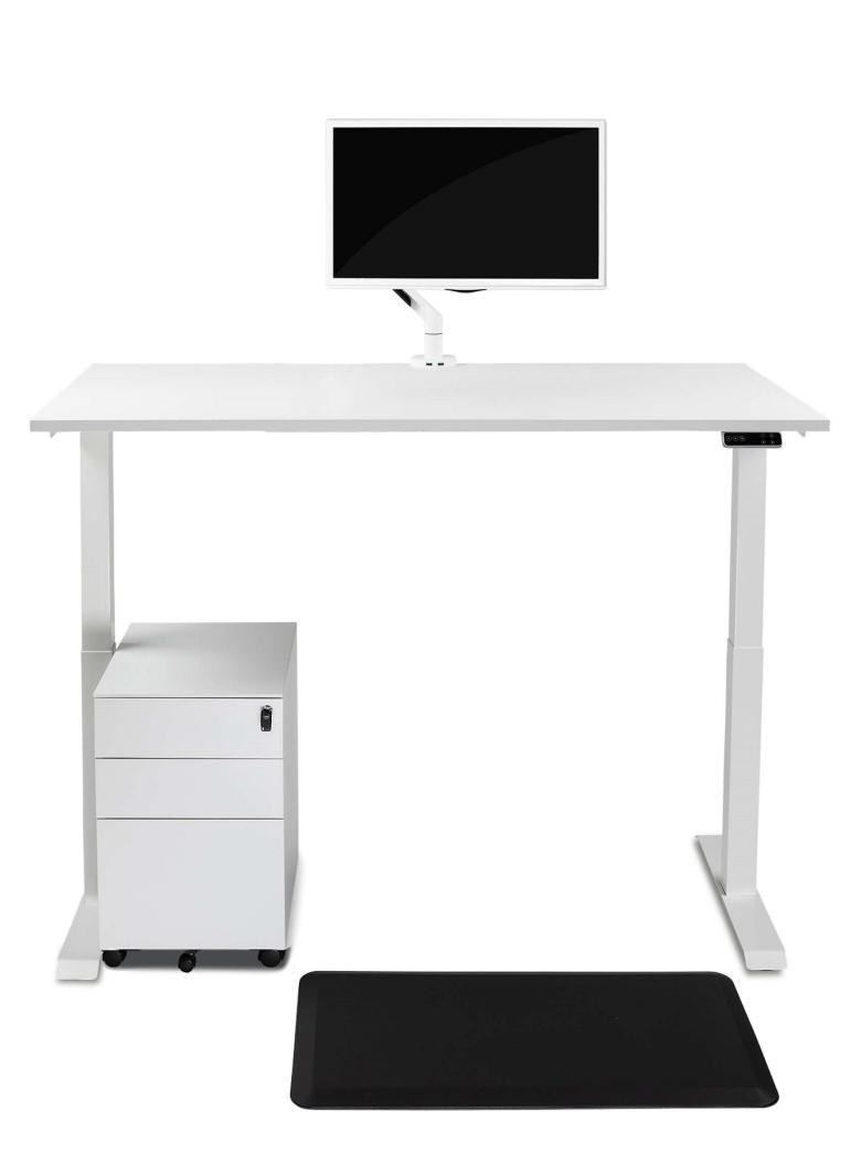 biurko podnoszone elektrycznie białe z uchwytem na monitor i matą do pracy na stojąco