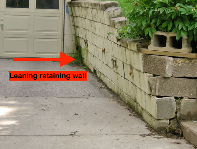 leaning and failing retaining wall