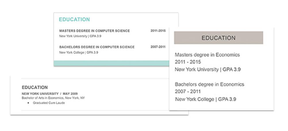 graphic design resume education