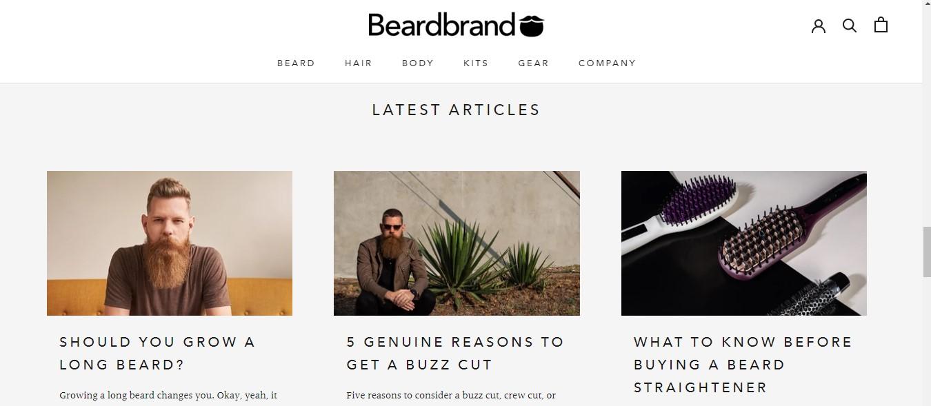 Beardbrand's landing page