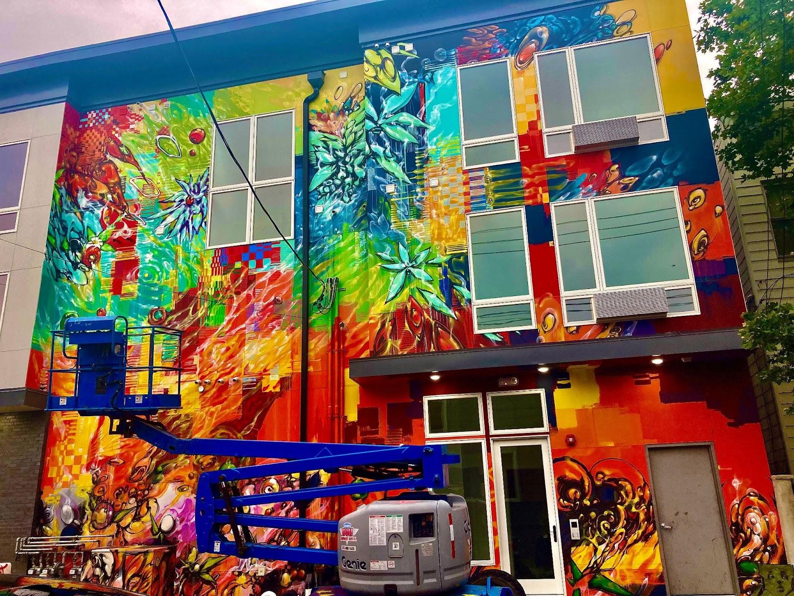 Inside Look at Jersey City's Burgeoning Street Art. Work-in-progress shot of Mr. Mustart's mural at High St. & Summit Ave. Photo by Vittoria Benzine.
