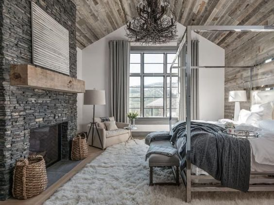 Master Bedroom Ideas with Wood and Stone Materials