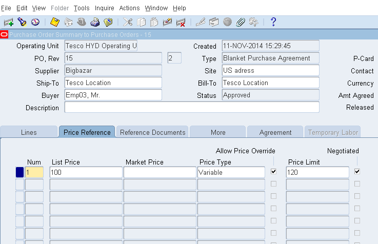Oracle Masterminds Bpa With Allow Price Override And Price Limit