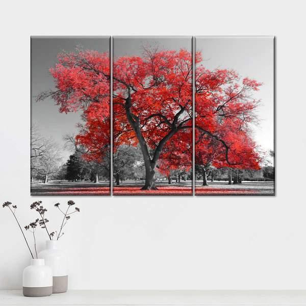 Big Red Tree Multi Panel Canvas Wall Art