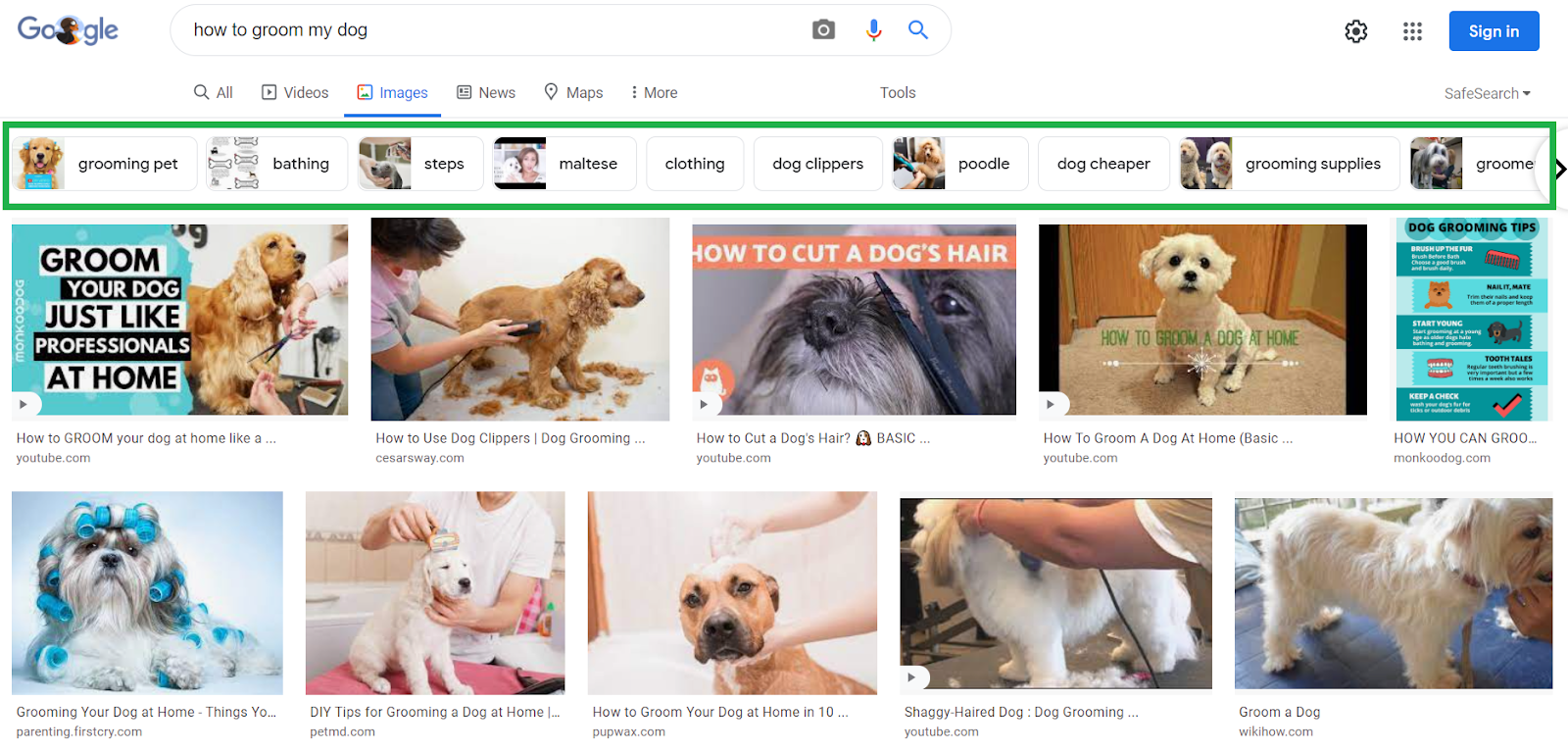 google tools for keyword research image results