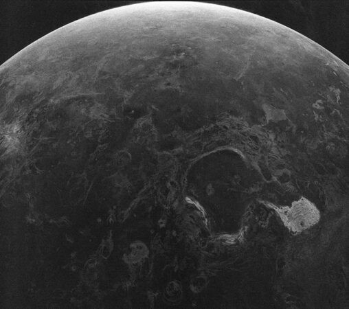 A radar map of the Venusian surface, in black and white.