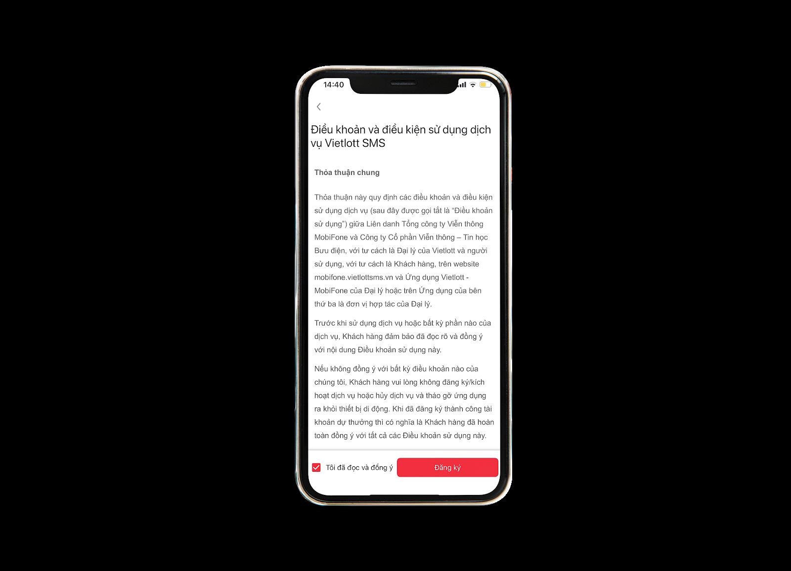 Đồng ý với các điều khoản mua vé số Vietlott online