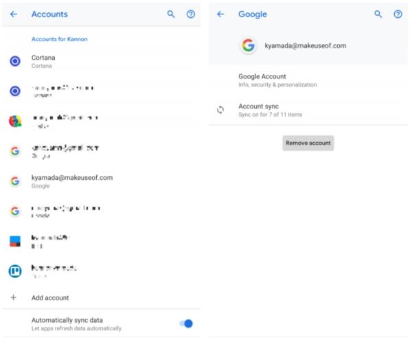 حل مشكلة توقف خدمات google play قد توقف عن طريق حذف حساب Google