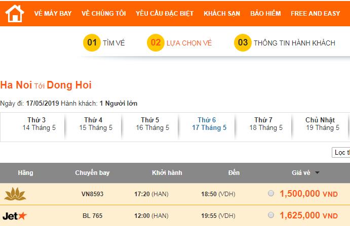 Giá vé máy bay Hà Nội Đồng Hới mùa cao điểm du lịch