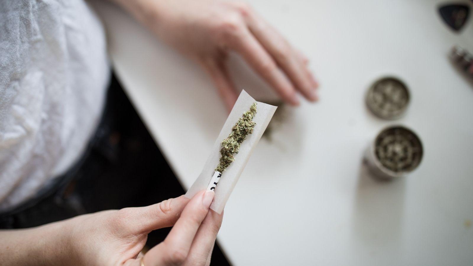 A woman rolls a cannabis joint.