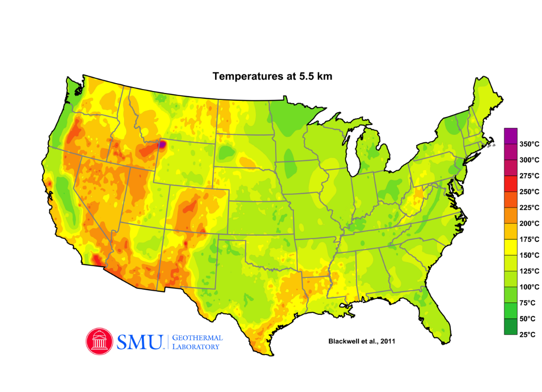 Map of U.S. subsurface temperatures at 5.5 km depth
