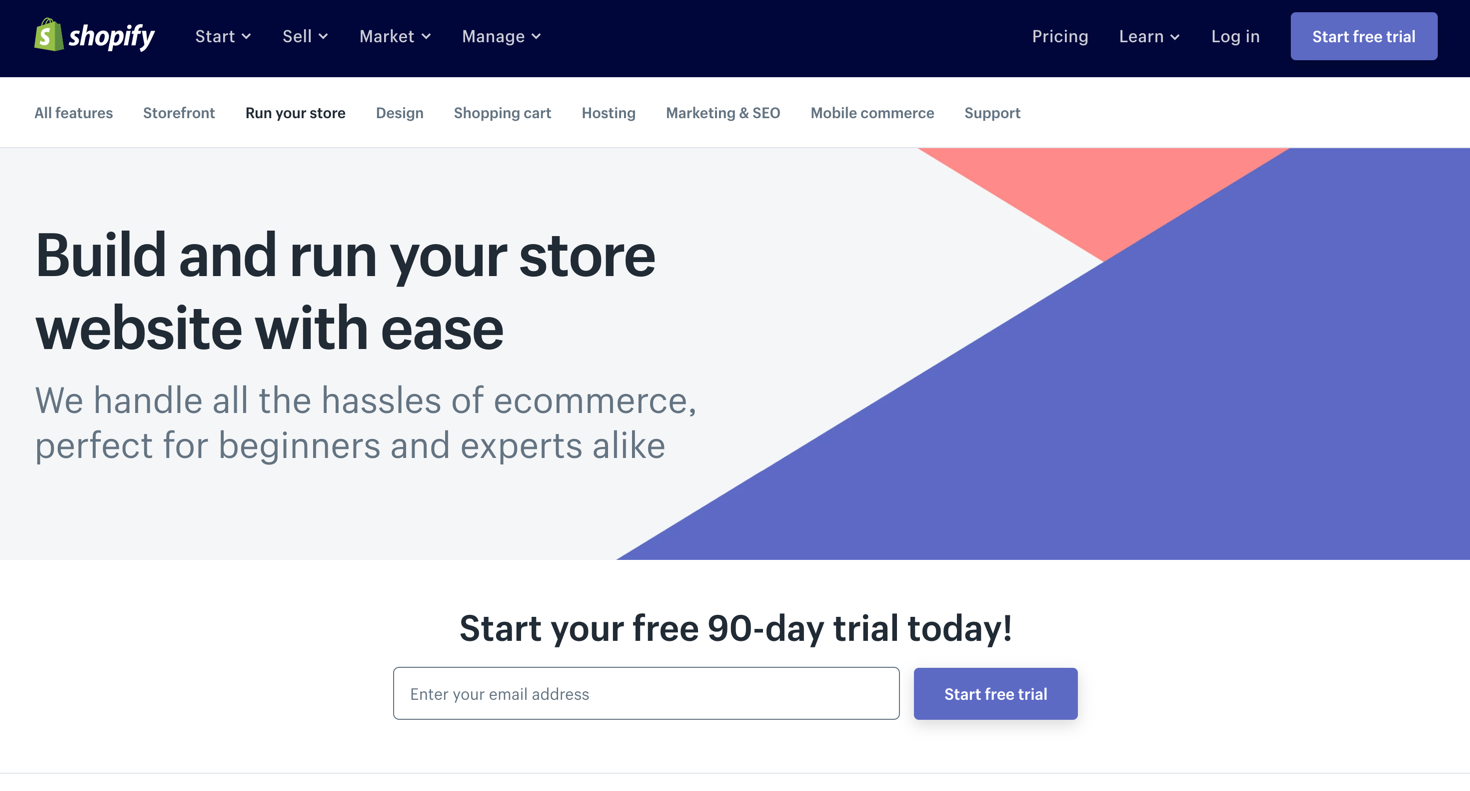 Screenshot of Shopify's website.